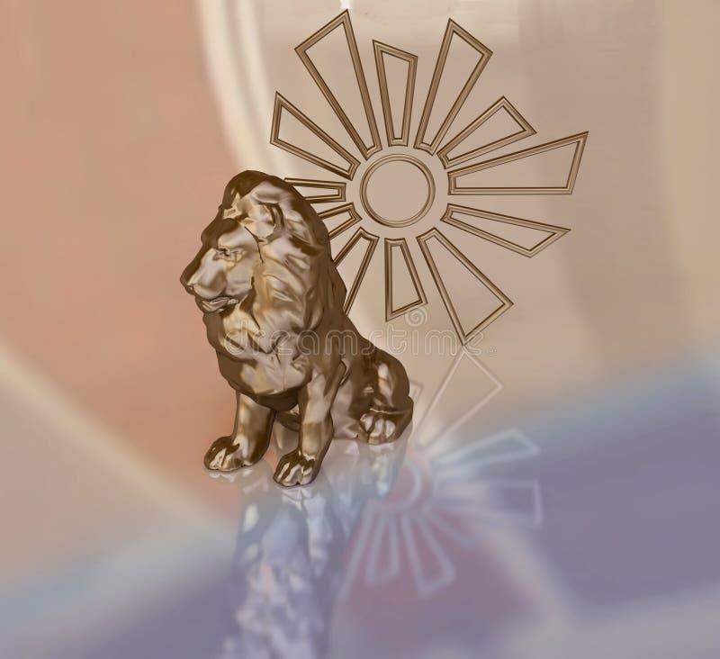 Lion Figurine con el símbolo de Sun libre illustration