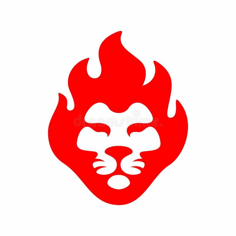 Lion fire logo icon mascot illustration in style modern royalty free illustration