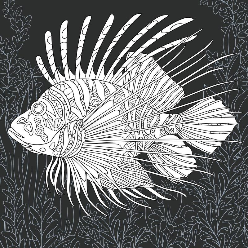 Lion-fish in black and white style stock illustration