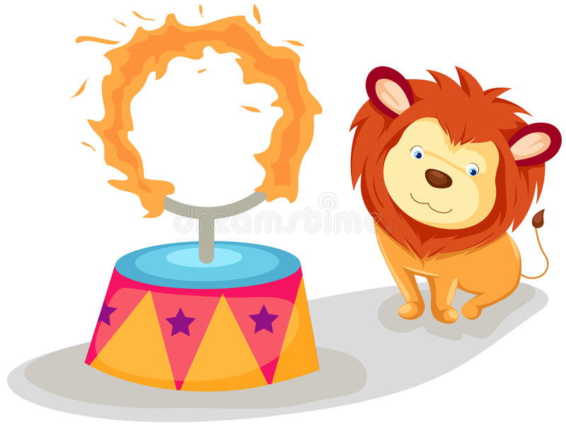 Lion with flaming ring stock illustration