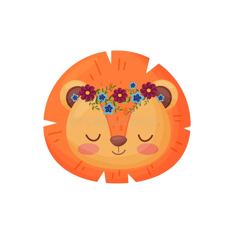 Lion with flower wreath. Flora and fauna concept. Smiling lion with flower wreath on white background. Flora and fauna. Nature and animals concept. Red mane royalty free illustration