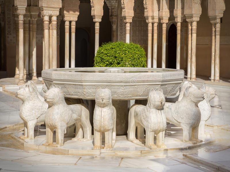 Lion fountain alhambra royalty free stock image