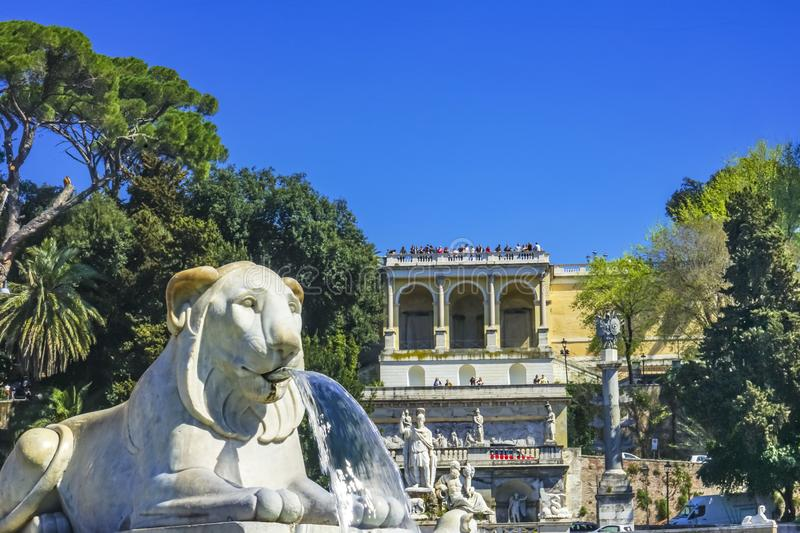 Lion Fountain Goddess Rome Statues Piazza Popolo Rome Italy. Lion Statue Fountain Goddess of Rome Statues Piazza del Popolo People& x27;s Piazza Rome Italy royalty free stock photo