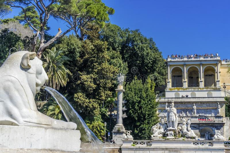 Lion Fountain Goddess Rome Statues Piazza Popolo Rome Italy. Lion Statue Fountain Goddess of Rome Statues Piazza del Popolo People& x27;s Piazza Rome Italy royalty free stock photography