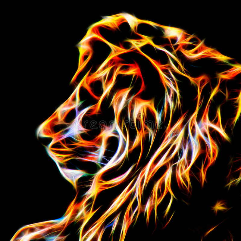 Lion In Fractal Wire Flames - il calore dentro illustrazione di stock