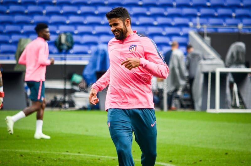 LION, FRANCJA - 16 Maj, 2018: Diego Costa przed finału UEFA fotografia stock