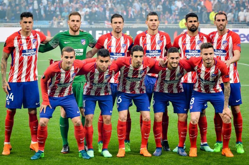 LION, FRANCJA - 16 Maj, 2018: Generał drużyny fotografia Atletico Madr obrazy stock