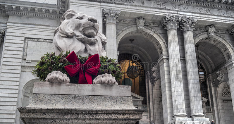 Lion in front of Library. Of the New York Public Library, more widely known as the Main Branch or simply as the New York Public Library stock images