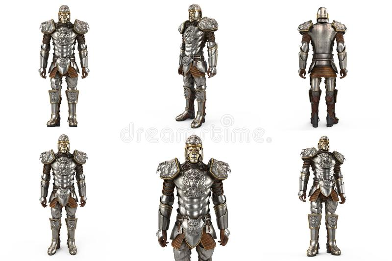 A Lion Full Body Armor Suit Isolated Against White