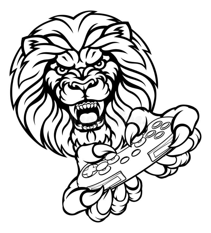 Lion Gamer Mascot vektor abbildung