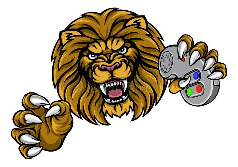 Lion Gamer Player Mascot ilustração stock