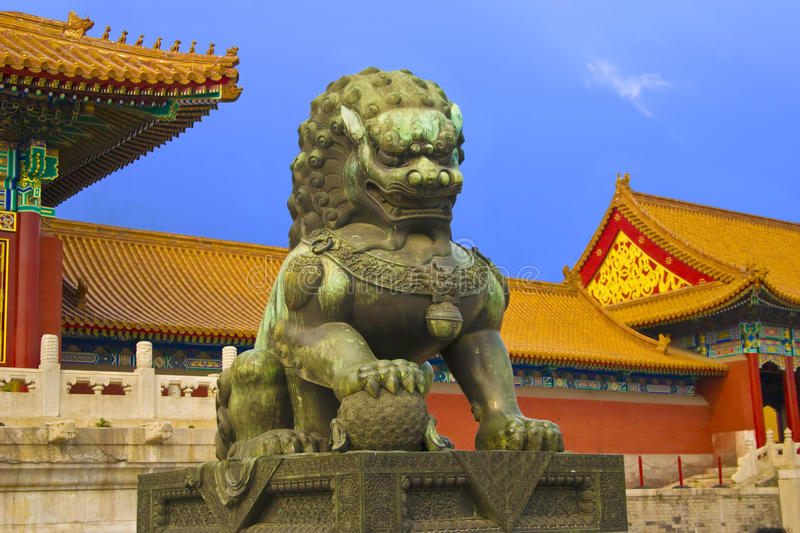 Lion at the gate of fobidden city royalty free stock photo