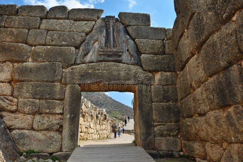 Lion Gate i Mycenae, Grekland royaltyfria bilder