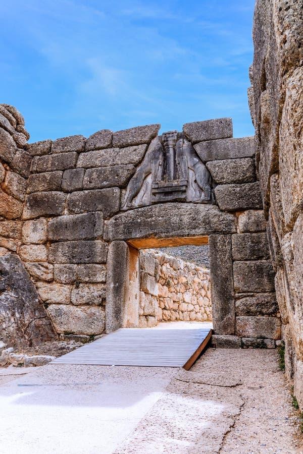 Lion Gate in Mycenae, Argolidam Griekenland Reis royalty-vrije stock foto's