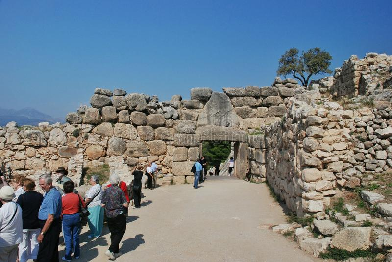 The Lion Gate, Mycenae stock photos