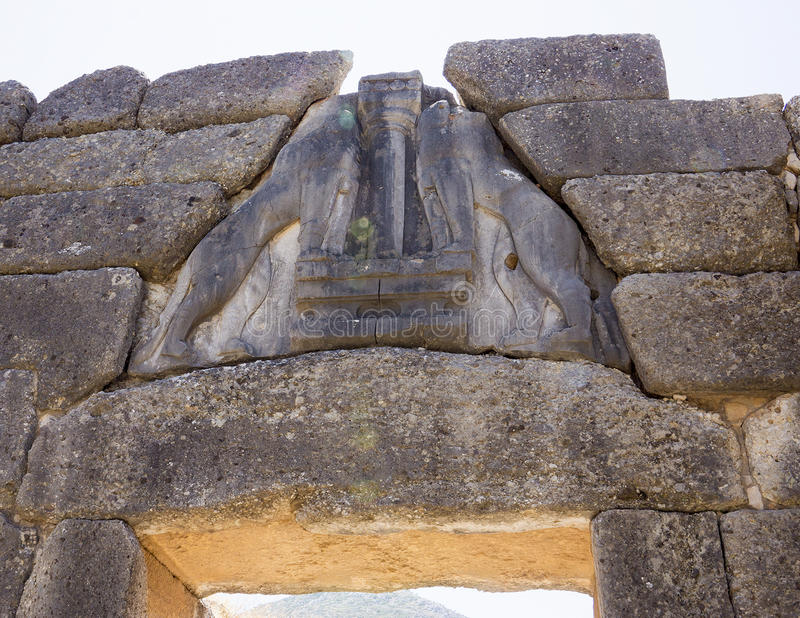 The Lion Gate Mycenae in Greece. The Mycenae is an archeological site in Greece located southwest of Athens. It was a military stronghold. In the second royalty free stock image