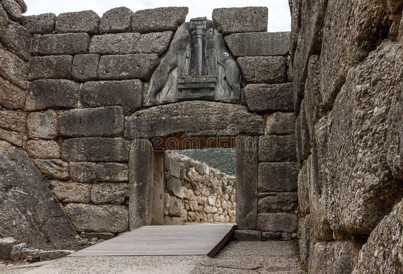 Lion Gate - Mycenae - Grekland arkivbild