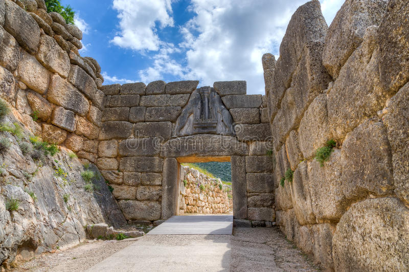 Lion Gate, Mycenae, Griekenland royalty-vrije stock foto's