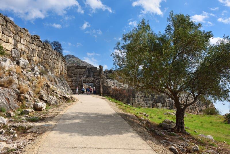 Lion Gate in Mycenae, Griekenland royalty-vrije stock foto