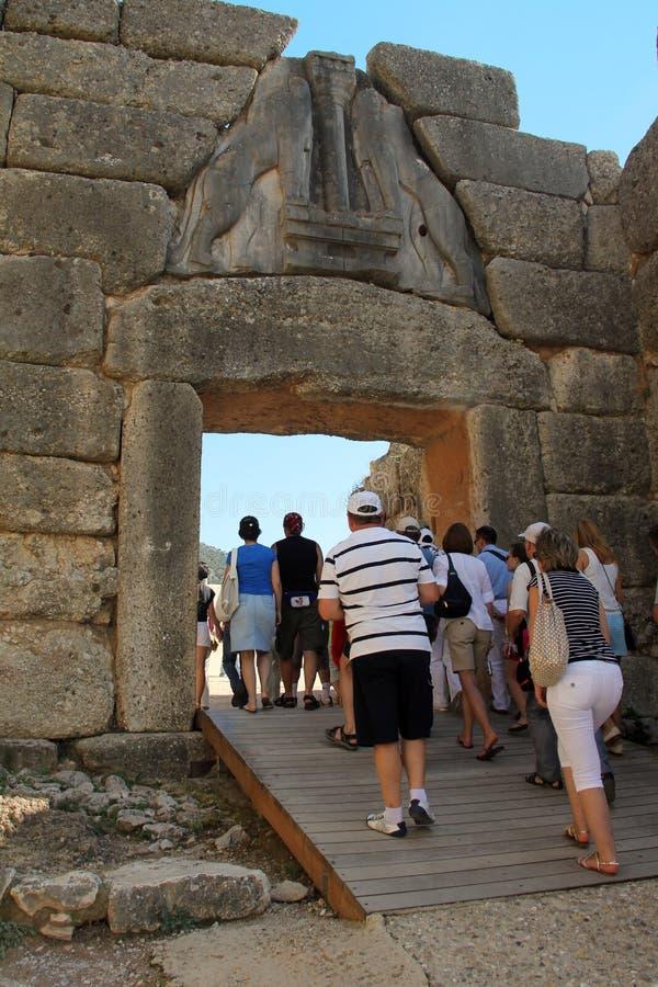 Lion Gate in Mycenae, Griekenland stock afbeelding
