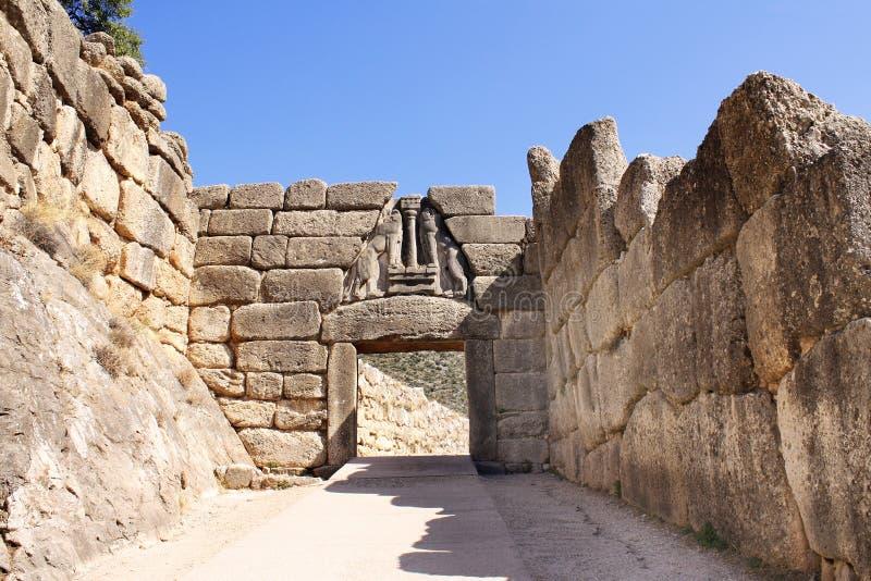 Lion Gate, site archéologique de Mycenae, Grèce image stock