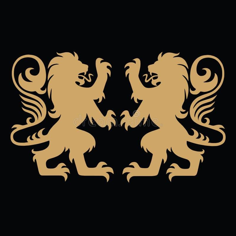 Lion Gold Logo Template heráldico libre illustration