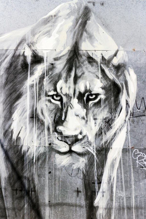 Lion Graffiti Art, Londres imagem de stock royalty free