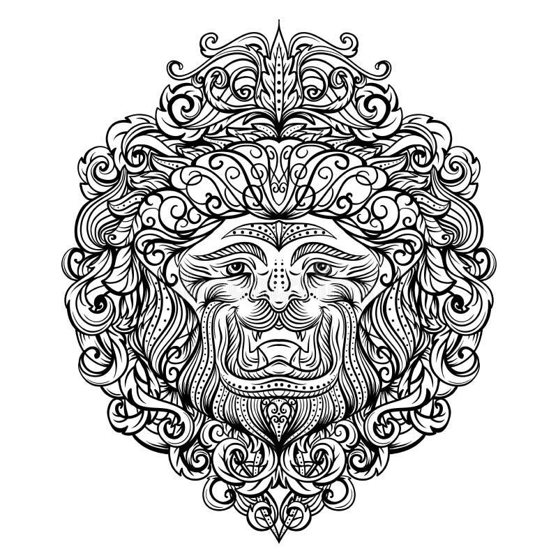 Lion Head avec l'ornement abstrait Conception d'art de tatouage de vintage, carte, copie, T-shirt, carte postale, affiche illustration de vecteur