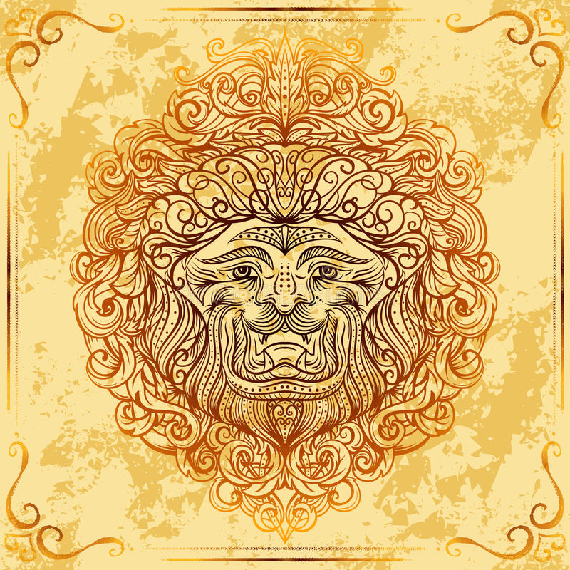 Lion Head with baroque ornament on grunge aged paper background. Vintage tattoo art. royalty free illustration