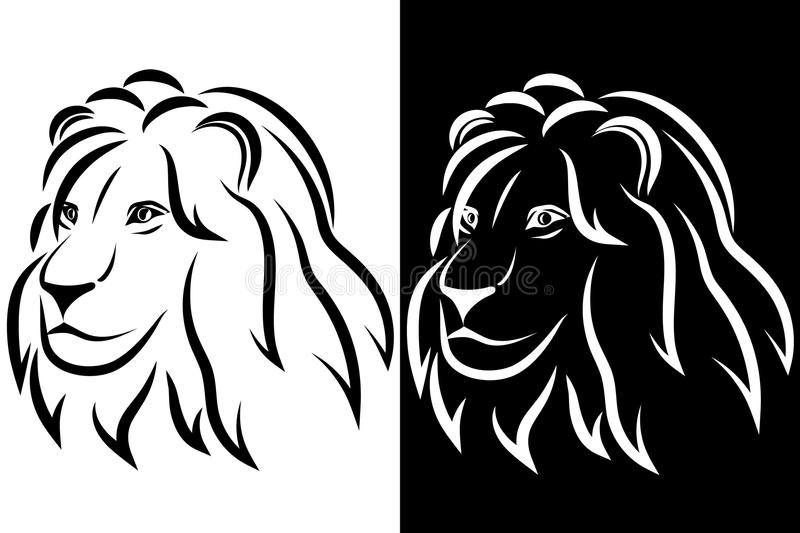 Line Drawing Lion Head : Lion head black and white silhouette logo vector illustration