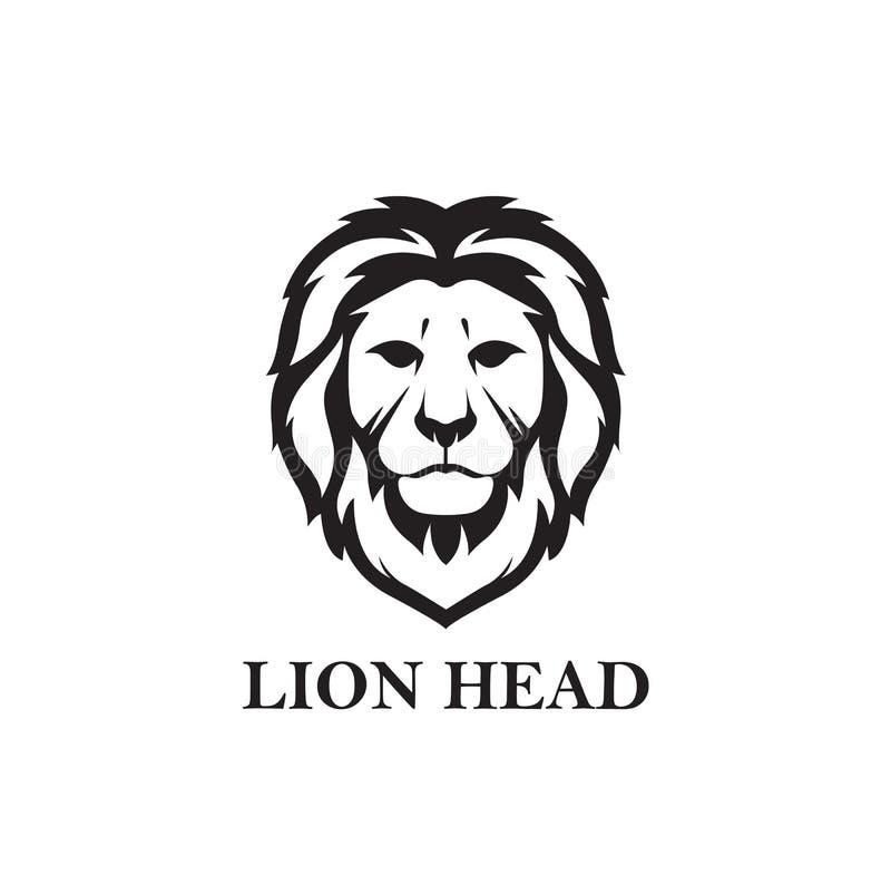 Lion Head Black And White, vecteur Logo Design, illustration, faune illustration de vecteur
