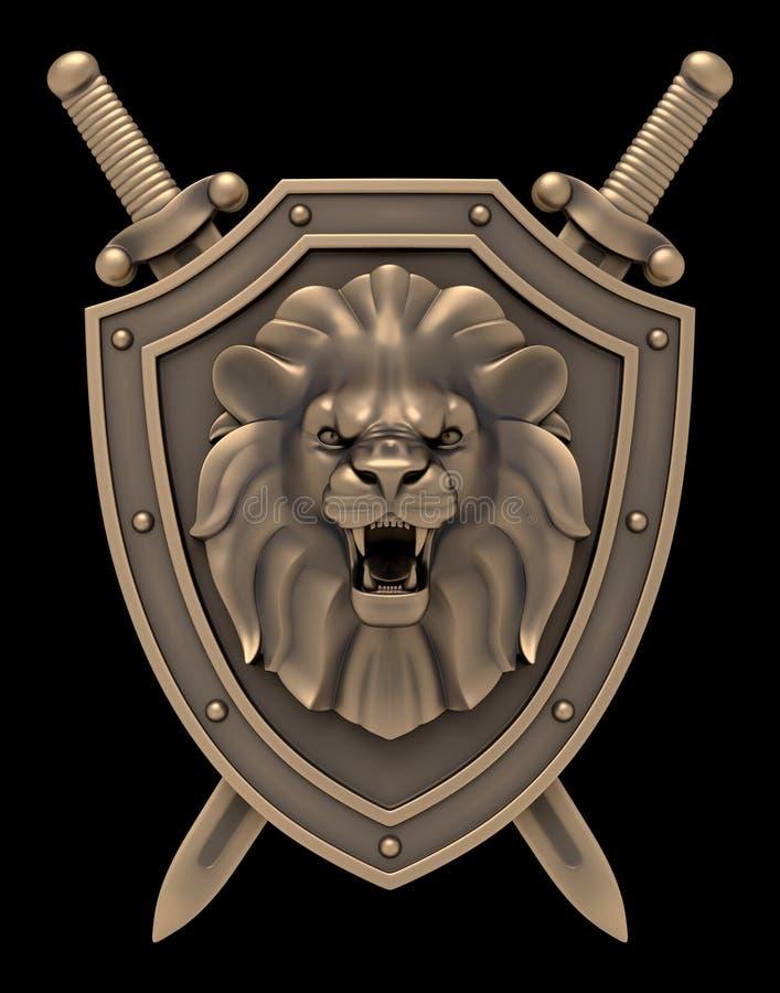 Lion Head Blazon ilustração royalty free