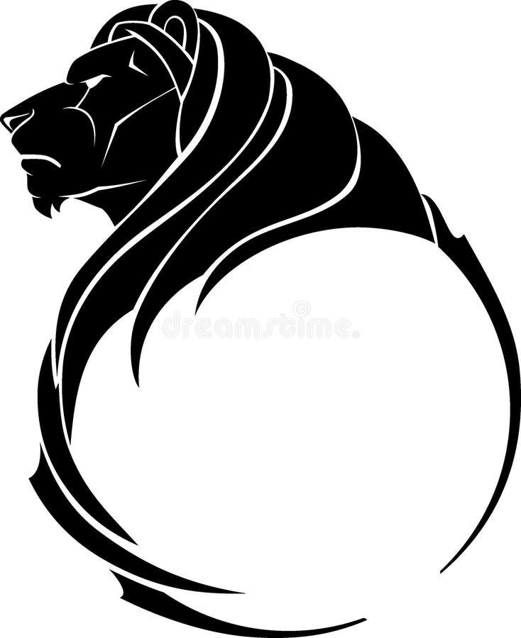 Lion Head Calligraphic Side View vector illustratie