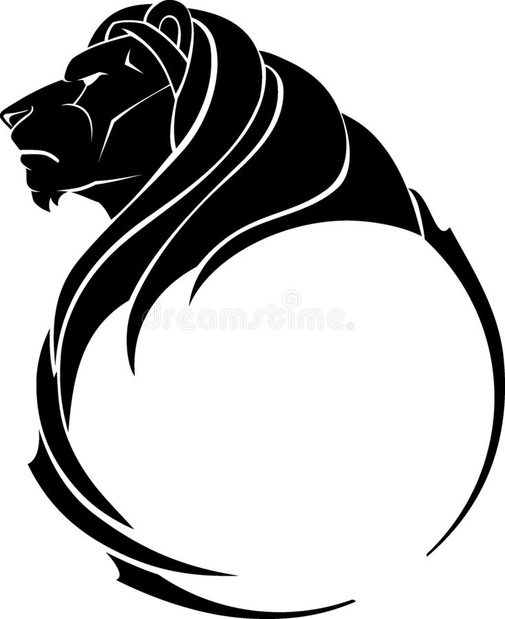 Lion Head Calligraphic Side View vektor illustrationer