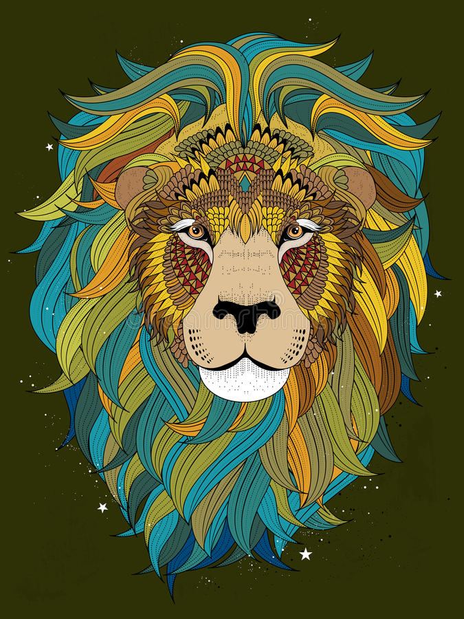Download Lion Head Coloring Page Stock Vector Illustration Of Animal