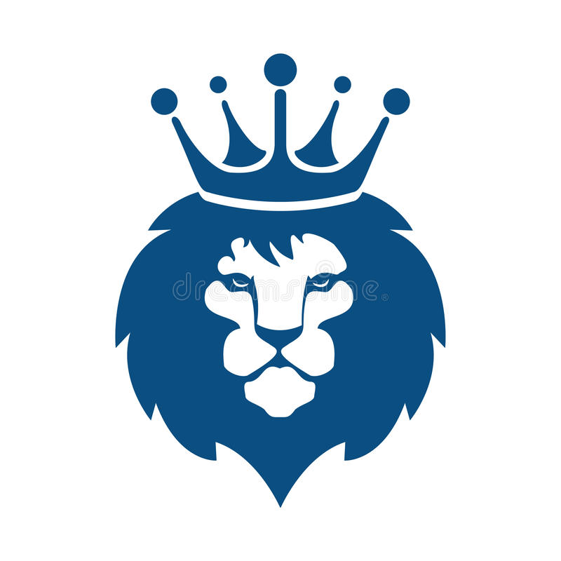 Download Lion Head With Crown Logo Design Stock Vector
