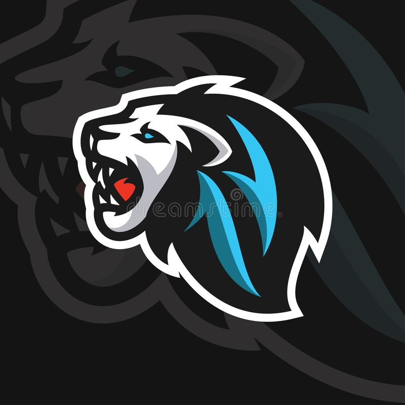 Lion head e sport logo style royalty free stock photography