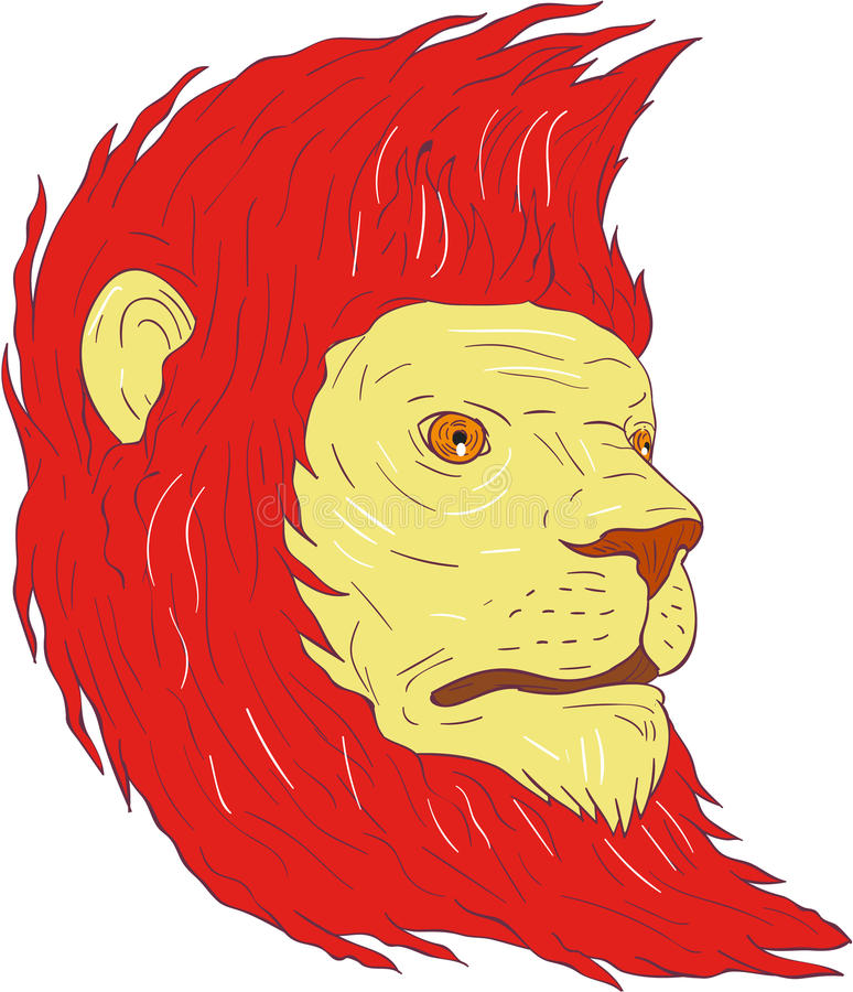 Lion Head With Flowing Mane-Tekening stock illustratie