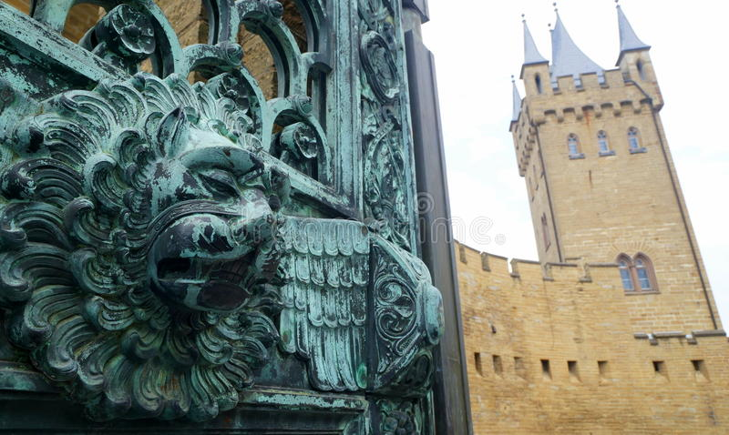 Lion Head at Hohenzollern Castle. Hohenzollern Castle is approximately 50 kilometers (31 miles) south of Stuttgart, Germany. It is considered the ancestral seat stock photo