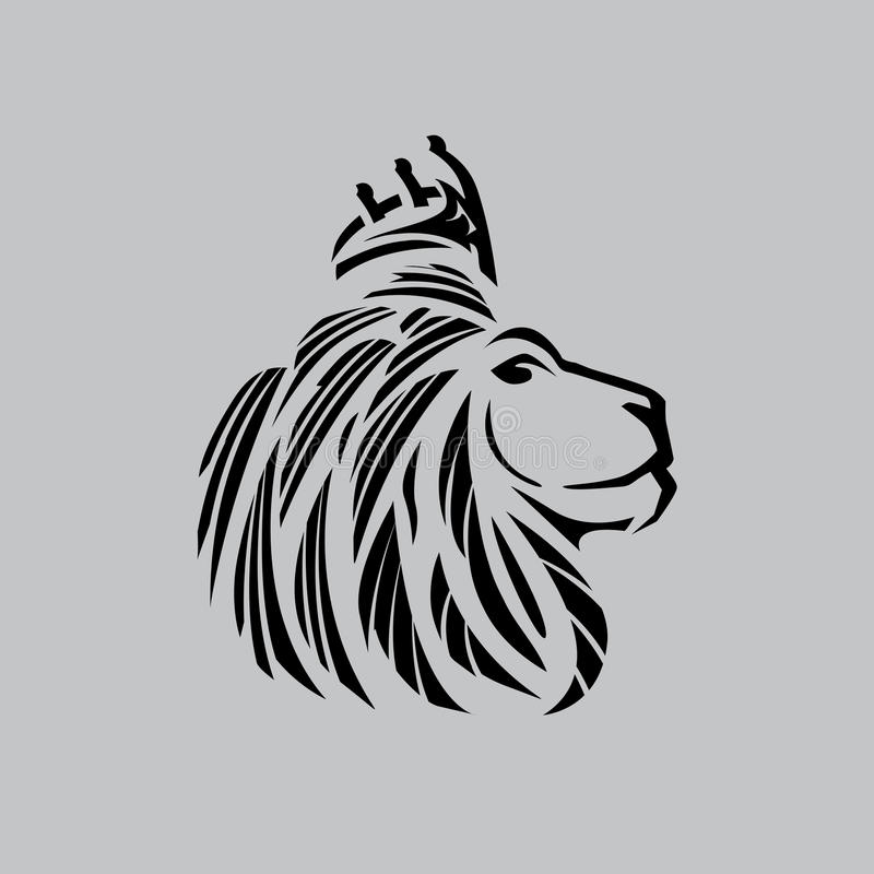 Lion head illustration with a crown just outlines stock illustration