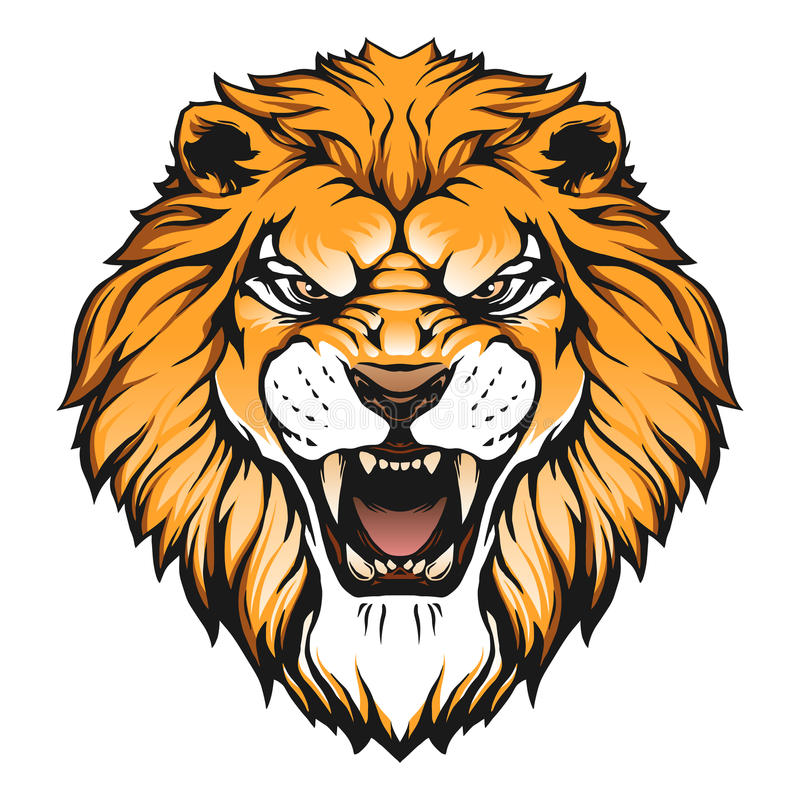 Lion head illustration. In vector on white background stock illustration