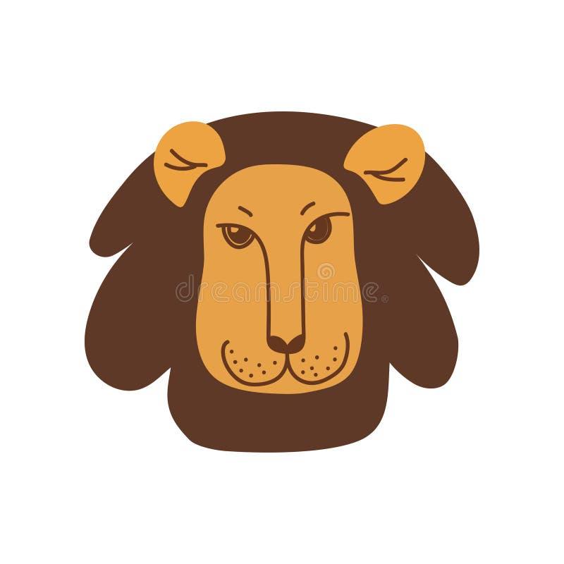 Lion Head lindo con la cara buena, elemento del diseño puede ser utilizado para la impresión de la camiseta, cartel, tarjeta, eti ilustración del vector