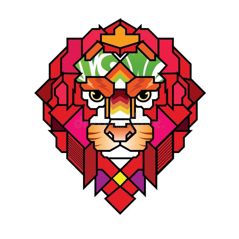 Lion Head Logo enojado, muestra, diseño del vector, ejemplo, Templa stock de ilustración