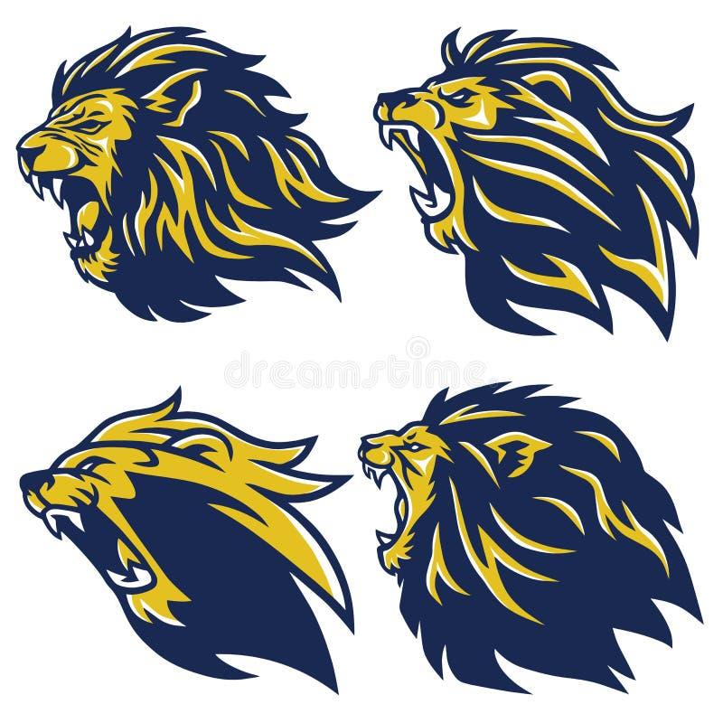 Lion Head Logo Set Vetora ilustração stock