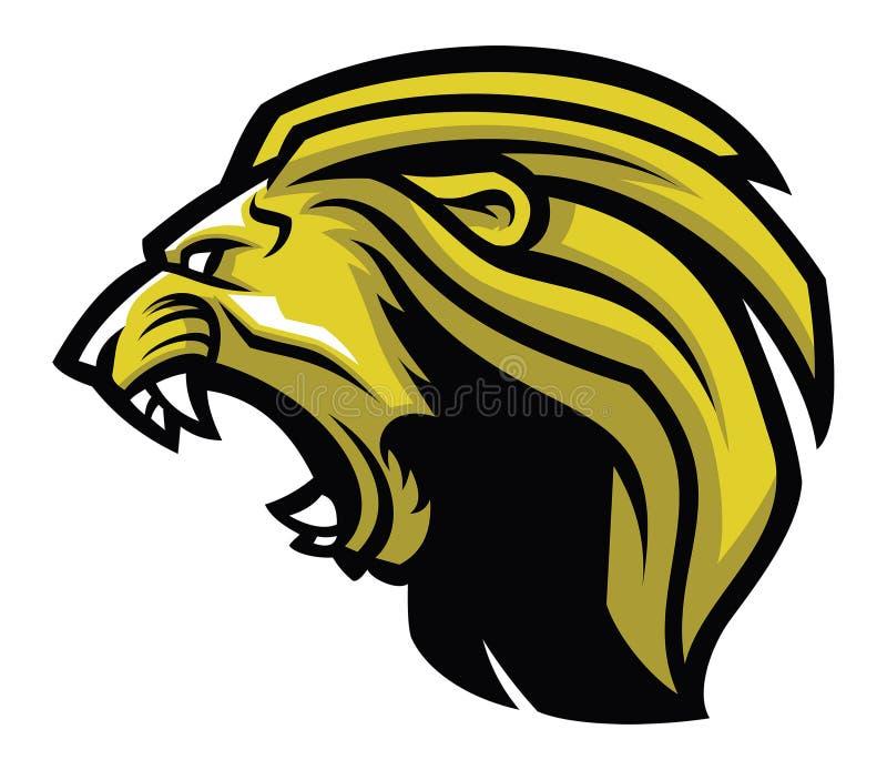 Lion Head Mascot enojado ilustración del vector