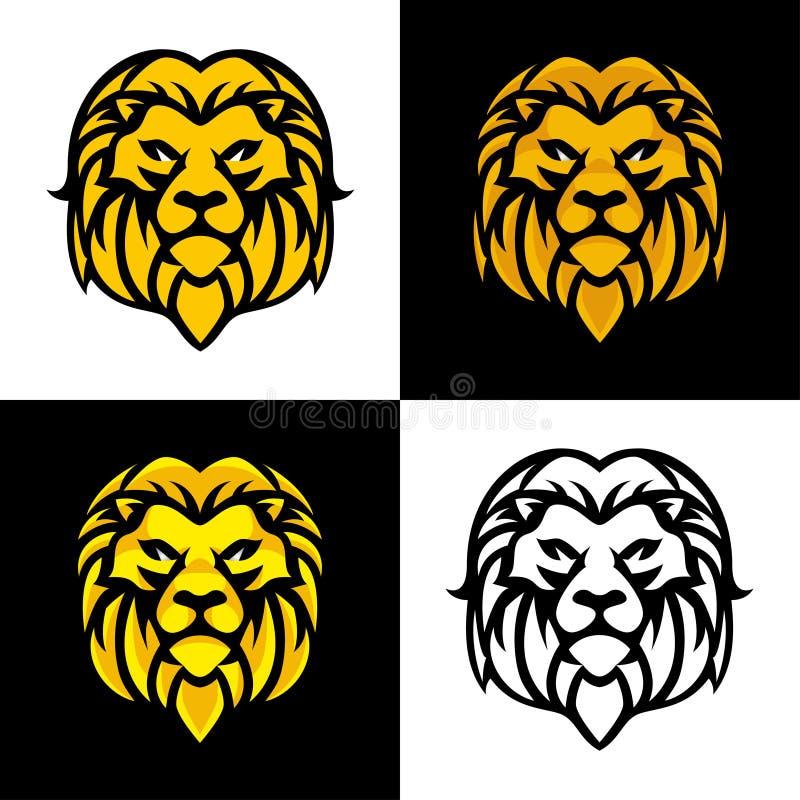 Lion Head Mascot ou Logo Vector Design illustration de vecteur