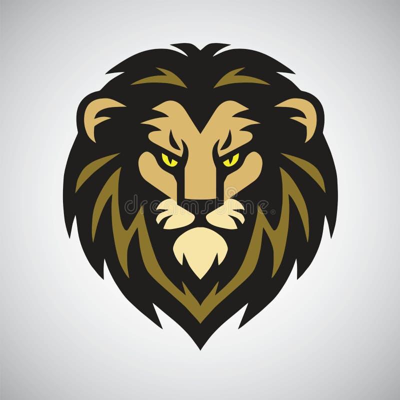 Lion Head Mascot Retro Logo-Ontwerp Vectorart. stock illustratie