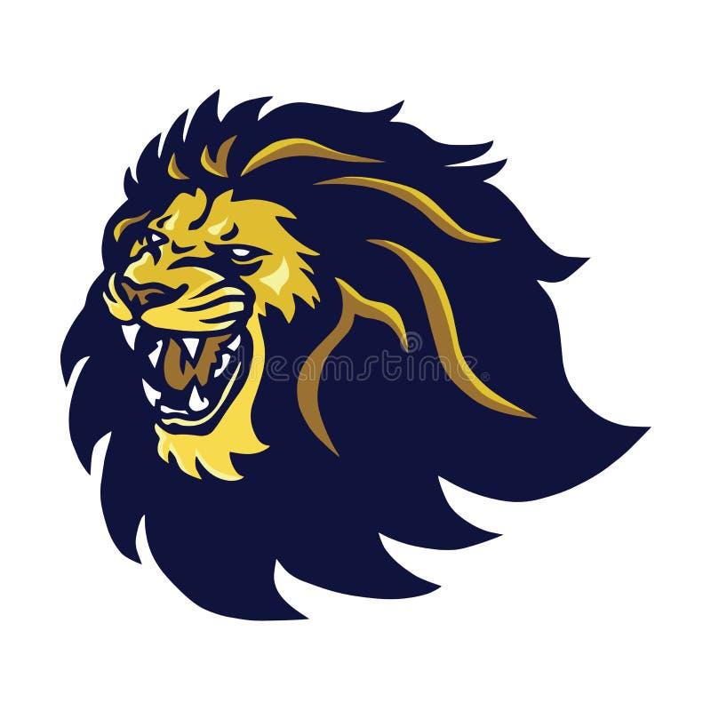 Lion Head Mascot Roaring Logo-Vektor-Ikone stockfoto