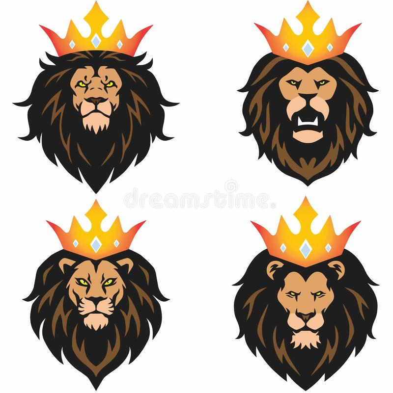 Lion Head Mascot Set with Crown Vector Logo Template vector illustration
