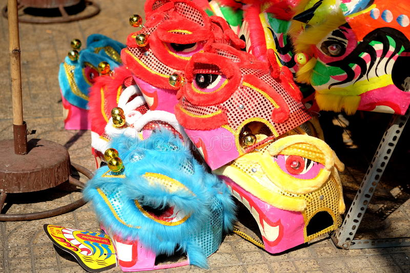 The Lion Head mask for Lion Dance in Vietnam. The lion dance is performed during Lunar New Year and other traditional, cultural festivals. It is also performed stock image